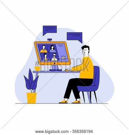 Man Talking Via Online Videoconference Vector Illustration. Work Chat On Desktop Computer. Video Con