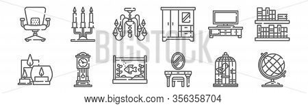 Set Of 12 Home Decoration Icons. Outline Thin Line Icons Such As Globe, Dressing Table, Clock, Tv Se