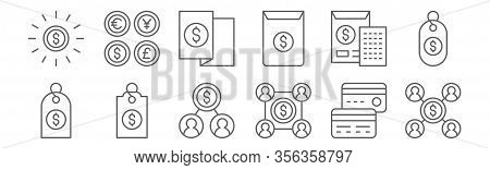 Set Of 12 Money Icons. Outline Thin Line Icons Such As Dollar, Dollar, Price Tag, Invoice, Invoice,