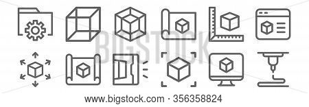 Set Of 12 D Printing Icons. Outline Thin Line Icons Such As D Printing, D Cube, Print, Cube, Cube,