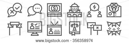 Set Of 12 Voting Elections Icons. Outline Thin Line Icons Such As Garlands, Law Book, Vote, Debate,