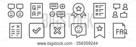 Set Of 12 Survey Icons. Outline Thin Line Icons Such As Faq, Like, Checkmark, Form, Testimonial, Que