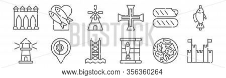 Set Of 12 Portugal Icons. Outline Thin Line Icons Such As Castle, Sardines, Placeholder, Chorizo, Wi