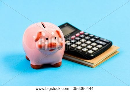 Piggy Bank Pink Pig And Calculator. Business Administration. Calculate Profit. Finance Manager Wante