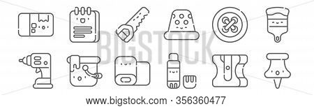 Set Of 12 Handcrafts Icons. Outline Thin Line Icons Such As Pin, Glue Stick, Paint Bucket, Button, H