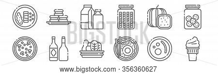 Set Of 12 Gastronomy Icons. Outline Thin Line Icons Such As Ice Cream, Rice Bowl, Liquor, Watermelon