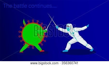The Battle Of The Virus Covid-19 And The Paramedic On A Blue Background