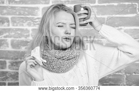 Girl Hold Tea Mug And Tissue. Runny Nose And Other Symptoms Of Cold. Drinking Plenty Fluid Important