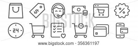 Set Of 12 Commerce Icons. Outline Thin Line Icons Such As Online Payment, Remove, Shopping Cart, Onl