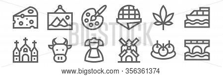Set Of 12 Holland Icons. Outline Thin Line Icons Such As Bridge, Windmill, Cow, Marijuana, Painting