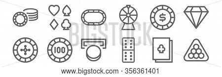 Set Of 12 Casino Icons. Outline Thin Line Icons Such As Billiard, Domino, Bet, Poker Chip, Poker Tab