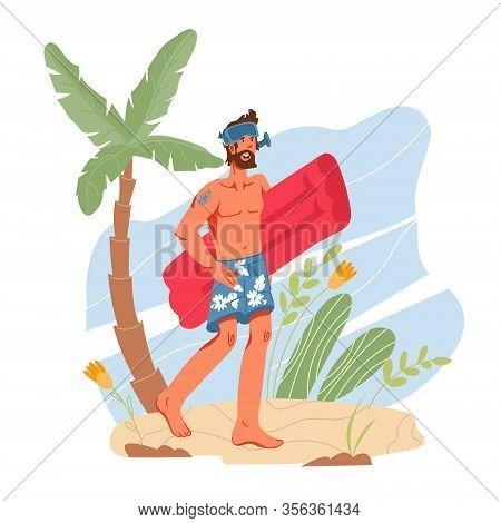 Swimmer Man Cartoon Character At Summer Beach Background. Water Sport Activity.