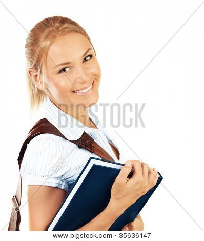 Portrait of beautiful happy student female, attractive clever smiling school girl with textbook isolated on white background, pretty smart cheerful teenager with shoulder bag, education concept