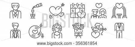 Set Of 12 Wedding Icons. Outline Thin Line Icons Such As Suit, Bouquet, Romantic Music, Newlyweds, H