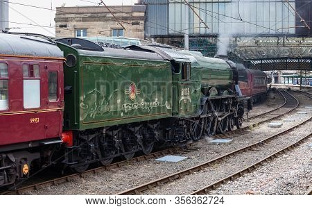 Carlisle, England - July 17:  The Flying Scotsman, A Preserved Steam Locomotive, Is Seen In Carlisle
