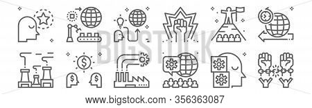 Set Of 12 Industrial Revolution Icons. Outline Thin Line Icons Such As Freedom, Crowd, Capitalism, V