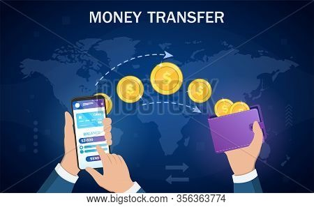 Money Transfer From Digital Wallet To Wallet In An Online Banking Transaction Showing A Smartphone A