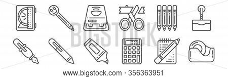 Set Of 12 Stationery Icons. Outline Thin Line Icons Such As Tape, Calculator, Pen, Pencil, Projector