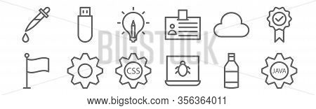 Set Of 12 Web Design And Programming Icons. Outline Thin Line Icons Such As Cogwheel, Bug, Cogwheel,