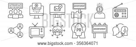 Set Of 12 Ads Icons. Outline Thin Line Icons Such As Public Relation, Public Relation, Tv, Money, Re