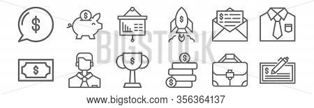 Set Of 12 Business Finance Icons. Outline Thin Line Icons Such As Check, Earning, Boss, Tax, Present