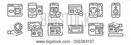 Set Of 12 Payment Icons. Outline Thin Line Icons Such As Cit Card, Cheque, Payment Method, Online Sh