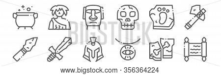 Set Of 12 History Icons. Outline Thin Line Icons Such As Papyrus, Amulet, Sword, Footprint, Moai, Ca