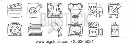 Set Of 12 Fine Arts Icons. Outline Thin Line Icons Such As Spray Paint, Drama, Books, Theater, Stage