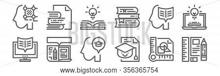 Set Of 12 Learning Education Icons. Outline Thin Line Icons Such As Stationery, Mortarboard, Online