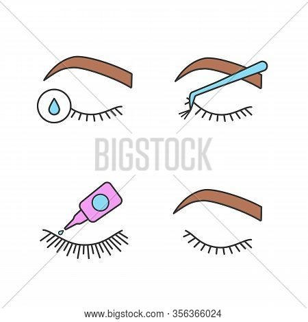 Eyelash Extension Color Icons Set. False Lashes Glue, Primer For Eyelash Extension, Cluster, Closed