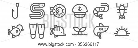 Set Of 12 Sea Life Icons. Outline Thin Line Icons Such As Sea Urchin, Whale, Fins, Shrimp, Porthole,