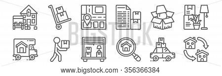Set Of 12 Removals Icons. Outline Thin Line Icons Such As Moving, Magnifying Glass, Box, Packing, St