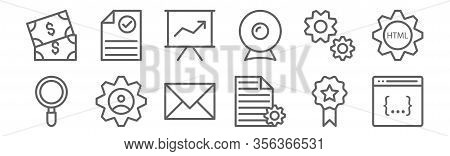 Set Of 12 Web Design And Programming Icons. Outline Thin Line Icons Such As Browser, Archive, Avatar
