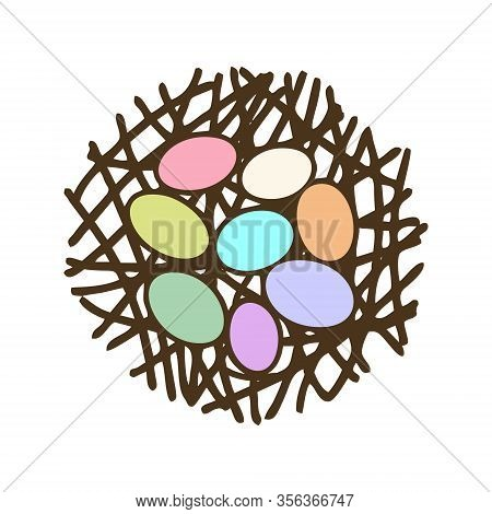 Easter Eggs In Nest Flat Color Vector Icon Isolated. Cute Colorful Egg Cartoon. Bird Straw Nest Mini