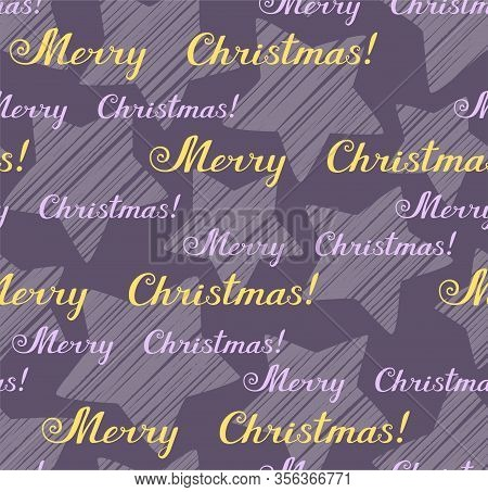 Merry Christmas, Seamless Pattern, Vector, Grey, English. The Inscription In English: