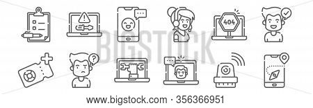 Set Of 12 Support Icons. Outline Thin Line Icons Such As Guidance, Live Chat, Confused, Error, Onlin