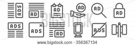 Set Of 12 Advertising Icons. Outline Thin Line Icons Such As Billboard, Banner, Remove Ads, Ads, Pos