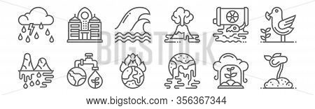 Set Of 12 Global Warming Icons. Outline Thin Line Icons Such As Sapling, Global Warming, Water, Radi