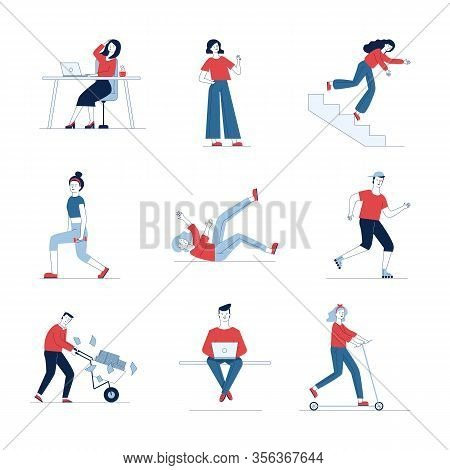 Modern Collection Of Various Cartoon People. Flat Vector Illustrations Of Man And Woman Stumbling, F