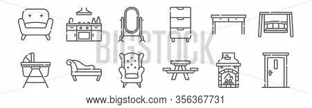 Set Of 12 Furnitures Icons. Outline Thin Line Icons Such As Door, Picnic Table, Chaise Longue, Table