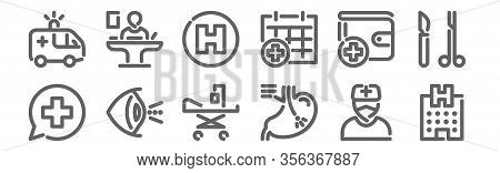 Set Of 12 Hospital Icons. Outline Thin Line Icons Such As Hospital, Endoscopy, Ophthalmology, Wallet