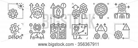 Set Of 12 Risk Management Icons. Outline Thin Line Icons Such As Risk, Plan, Think, Identify, Insura