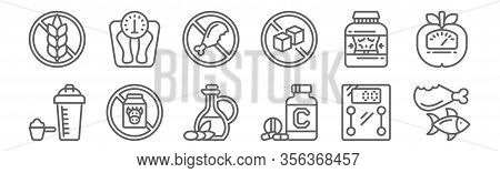 Set Of 12 Diet And Nutrition Icons. Outline Thin Line Icons Such As Proteins, Vitamins, Dairy, Whey,