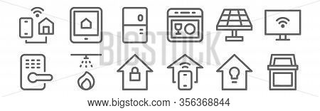 Set Of 12 Smart Home Icons. Outline Thin Line Icons Such As Bin, Home Automation, Fire Alarm, Solar