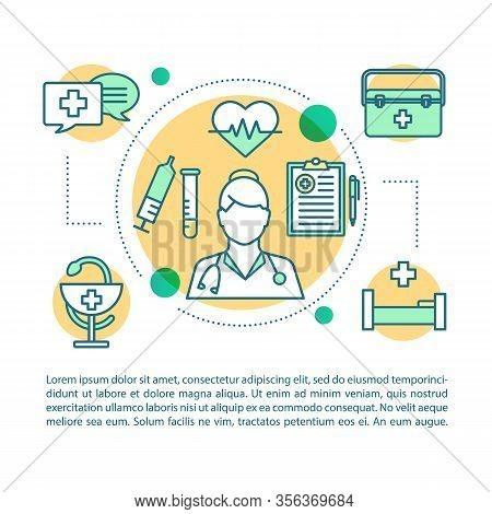 Nursing Service Concept Linear Illustration. Medicine And Healthcare. Article, Brochure, Magazine Pa