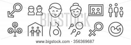 Set Of 12 Family Icons. Outline Thin Line Icons Such As Fetus, Fertility, Family, Family, Boy, Coupl