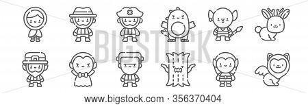 Set Of 12 Fantastic Characters Icons. Outline Thin Line Icons Such As Sphynx, Haunted, Vampire, Gobl