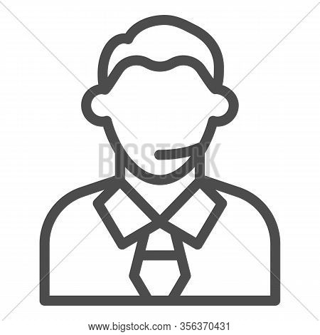 Football Or Soccer Commentator Line Icon. Human With Headset, Fan Support Symbol, Outline Style Pict