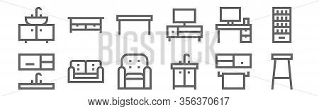 Set Of 12 Furnitures Icons. Outline Thin Line Icons Such As Stool, Sink, Sofa, Desk, Dinning Table,