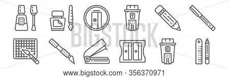 Set Of 12 Stationery Icons. Outline Thin Line Icons Such As Pencil, Sharpener, Cutter, Pencil, Sharp